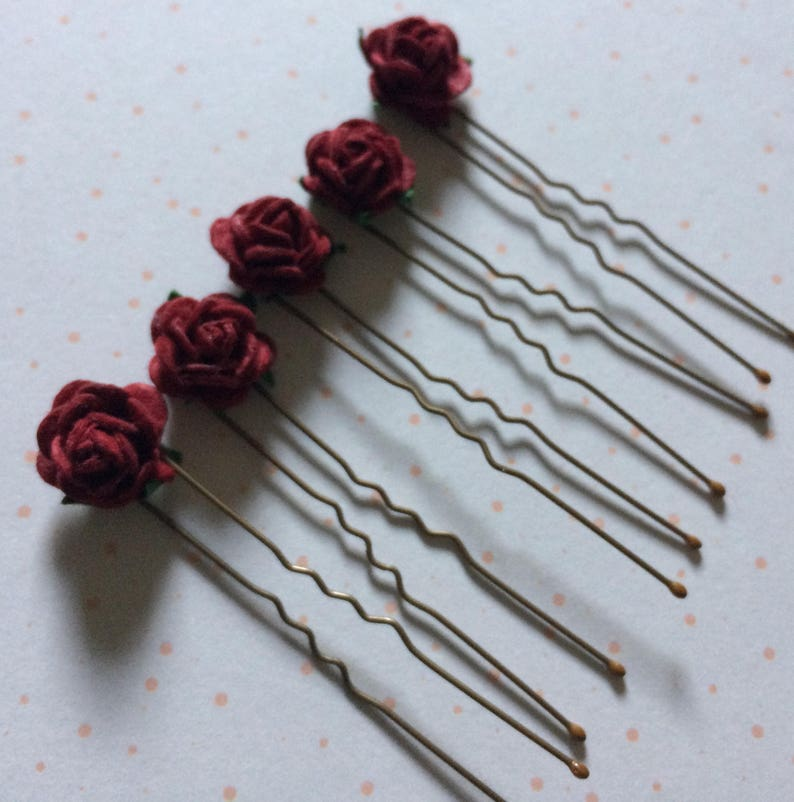 5 Dark Red Aster Daisy Flower Hair Pins Clips Grips Bridesmaid Wedding Occasion