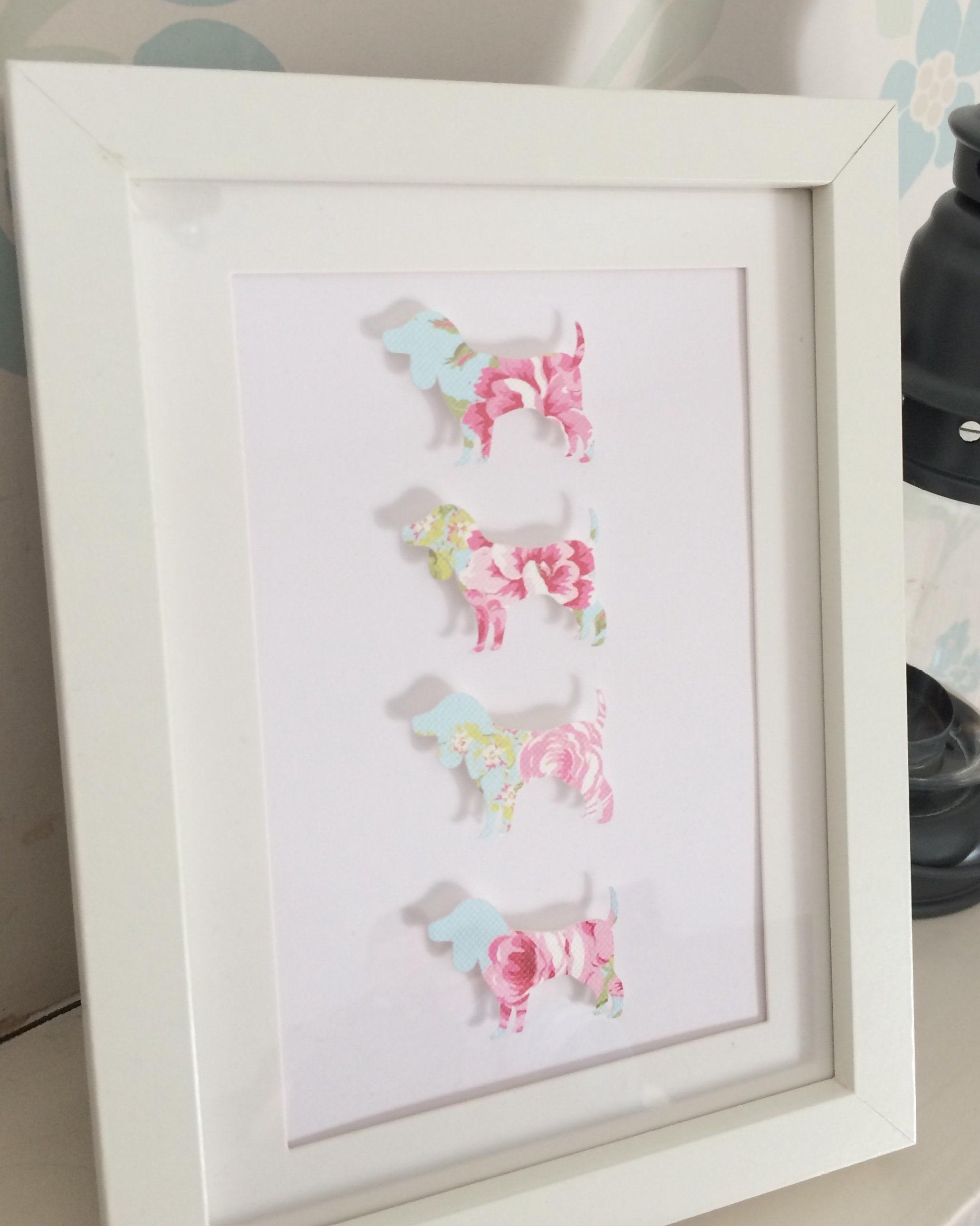 5 X 7 floral dog design frame wall art paper cut