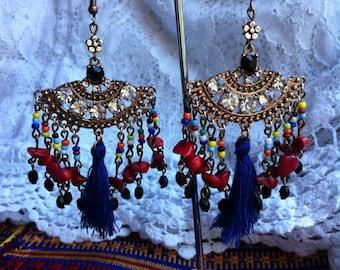 exotic earrings tassel earrings Boho tassel earrings colourful bohemian  earrings gypsy earrings unique earrings boho earrings
