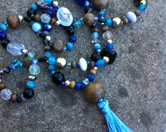 Beaded tassel necklace, boho chic necklace, beaded necklace, statement necklace, blue tassel necklace,  gypsy necklace, blue necklace