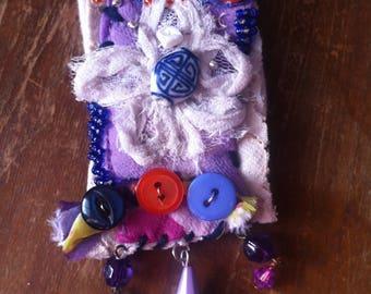 Boho brooch, bohemian pin, gypsy brooch, art brooch, textile art, mixed media, assemblage, textile sculpture, flower brooch, purple brooch