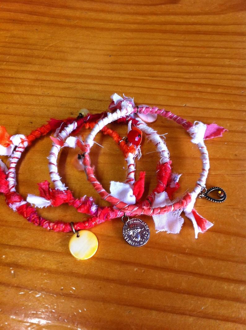 gypsy bangles bohemian bracelets bangle set gypsy bangles gypsy jewellery boho bangles Indian bangles Red and white wrap bangles