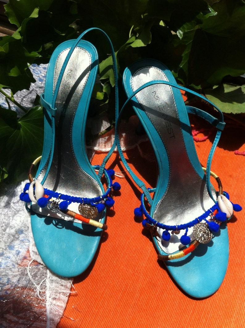 16630131c9688 Boho chic upcycled turquoise leather heels blue sandals