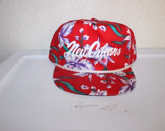 Vintage 90 s New Orleans Floral All Over Print Snapback Hat By San Sun 9ffe7a780de8