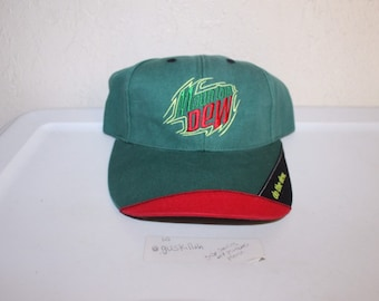 578ceb45849 Vintage 90 s Mountain Dew Strapback Hat by Authentic Headwear