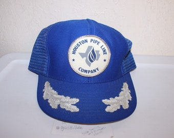 906c661baec Vintage 90 s Houston Pipe Line Company Meshback Hat by AG Mgf