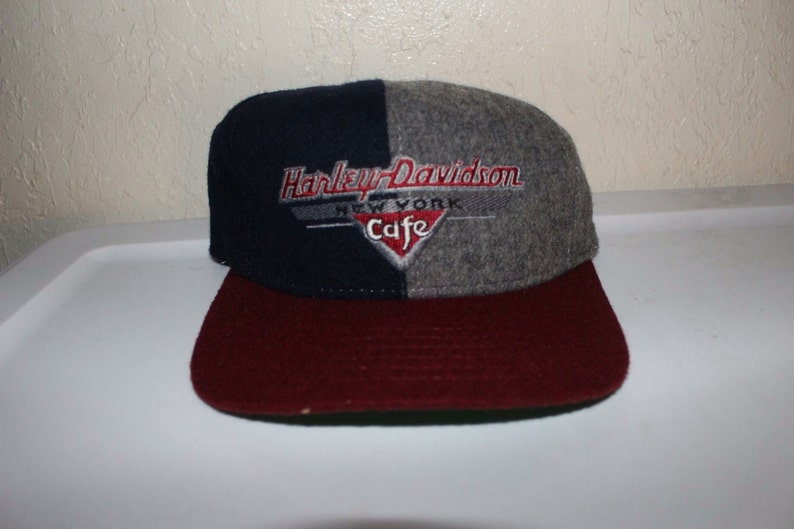 cd4f4a292 Vintage 90's Harley Davidson New York Cafe Strapback Hat by American Needle