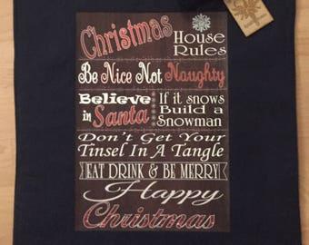 Sale, Christmas House Rules Tote Bag, Christmas Bag, Fun Christmas Tote Bag, Christmas Shoulder Bag, Fun Christmas Canvas Bag, Bag For Life