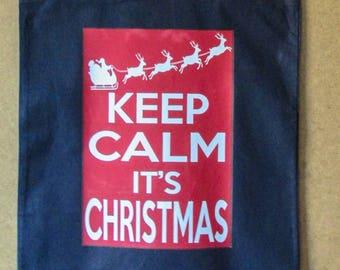 Sale, Keep Calm Christmas Tote Bag, Keep Calm Bag, Fun Christmas Tote Bag, Christmas Shoulder Bag, Canvas Bag, Bag For Life, Christmas Bag