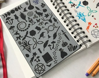 Wiccan Bullet Journal Stencil, Witchcraft or Wizardry arts and crafts stencil, Witch or Wizard Magic shapes Grimoire or Book of Spells
