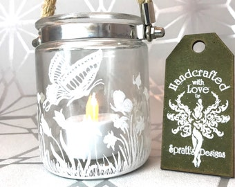 Floral Garden Butterfly Jar Hygge Lantern, Handpainted Glass Candle Holder, Hggye Candle Holder
