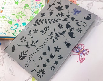 Flowers n Plants Garden Bullet Journal Stencil, a great Nature Planner Notebook Crafts Stencil for those Plant Lovers Gardening almanac