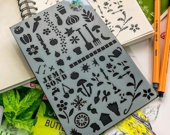 Garden Journal Stencil, Gardners Aid to Planting Notebook, Gardening Plants and Vegetables growing craft stencil, planting almanac