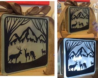 Rustic Deer & Stag Nightlight, Mountain Scene Glass Light block suitable for christmas or housewarming gift