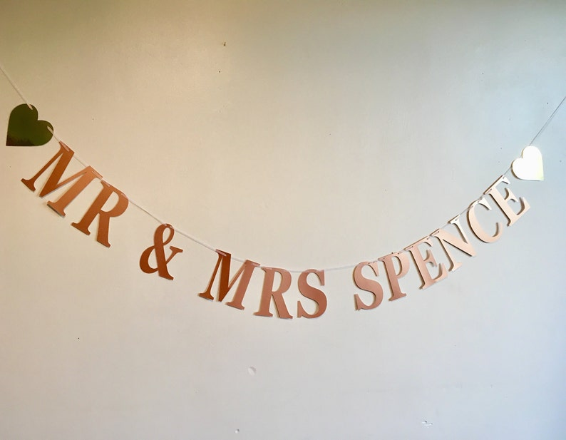 banner rose gold Engagement// hen party personalised bunting custom bunting
