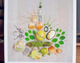 Crystal Grid Art Print - Litha, Summer Harmony - Wheel of the Year - Summer - Midsummer - Summer Solstice