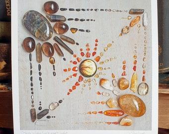 Crystal Grid Art Print - Ostara, When Dark meets Light - Wheel of the Year - Spring Equinox - Easter