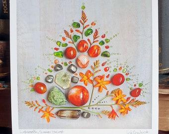 Crystal Grid Art Print - Lughnasadh, Summer Harvest - Wheel of the Year - Summer - Harvest - Lammas