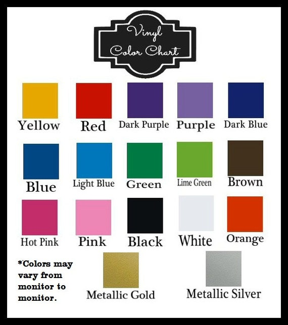 Application Instructions And Vinyl Color Chart Please Do Not Etsy