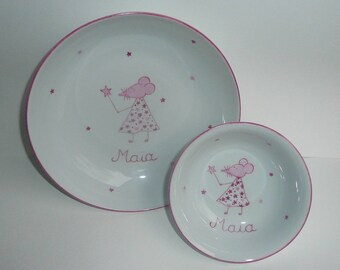 custom child porcelain set, plate and Cup fairy mouse pink and dust with stars