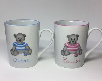 Christening or birth to twins gift: 2 twin bears mugs personalized for children in porcelain