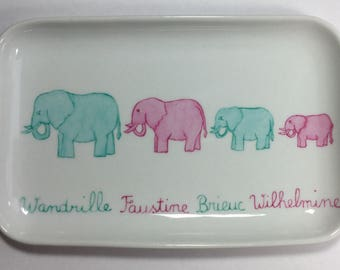 Personalized birthday gift: Oddments elephants hand painted porcelain