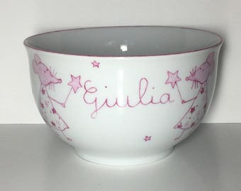 Custom child Bowl pink fairy mouse