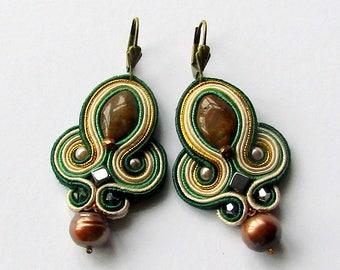 Soutache Earrings Green - Creamy - Gold