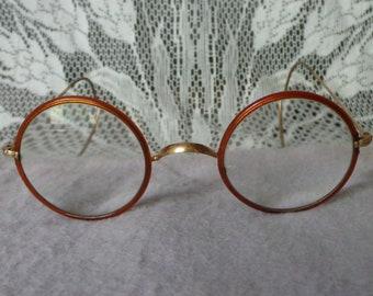 f915c309d39b Vintage Antique Round Gold   Brown CELLULOID COVERED WINDSOR Eyeglasses  Lennon Harry Potter