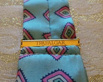 TRAFALGAR SILK BRACES Suspenders Unique Teal Print