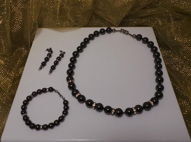 Vintage GUNMETAL RHINESTONES Glass BEAD Necklace Bracelet /& Earrings