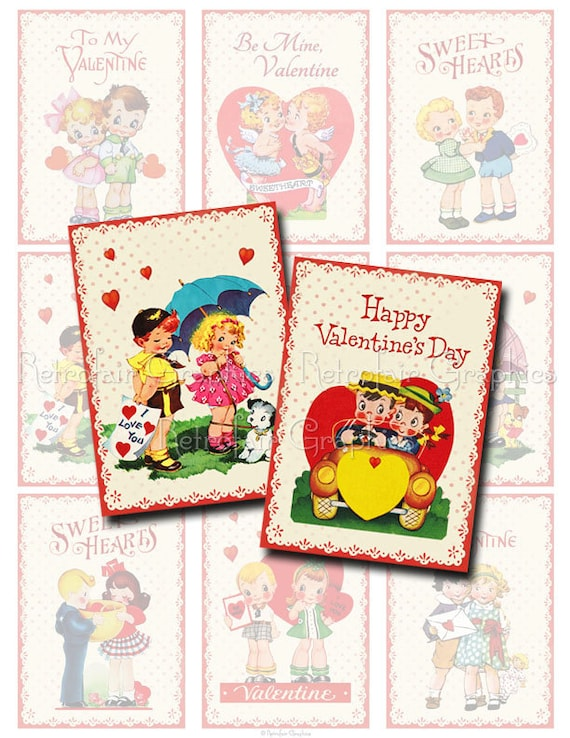atc aceo Digital collage sheet of retro cards INSTANT DOWNLOAD scrapbooking and more vintage couples for tags Printable Valentines