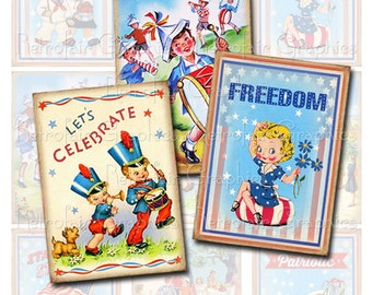 4th of July Digital Collage Sheet of  Vintage Patriotic Graphics, Instant Download DIY Printable Jpg Graphics for July Fourth Decorations