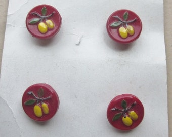 Original Card of Red Glass Fruit Buttons Schwanda  OneWomanRepurposed B 18