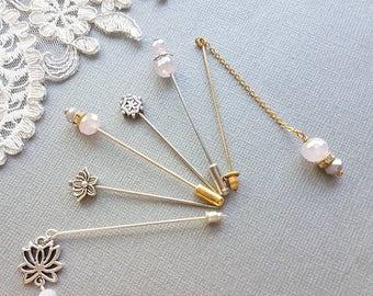 Hijab Pin Set, Hat Pin, Islamic Jewelry, Muslim Bridesmaid, Hat Pin Set,  Stick Pin, Eid Gift, Hijabi Gift, Muslim Wedding Gift, Islamic Gift