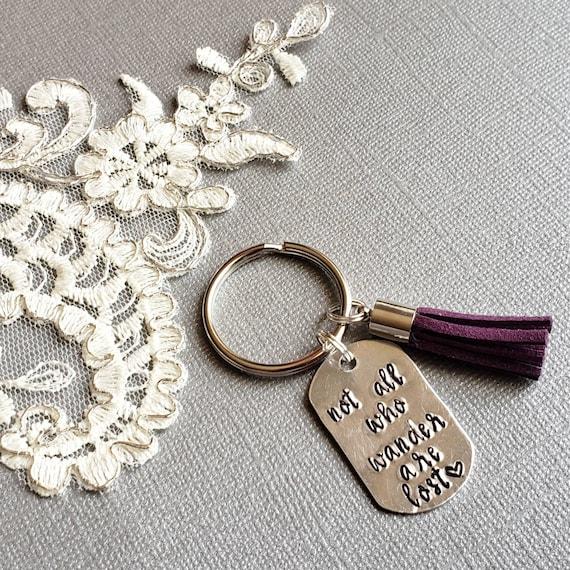Custom Key Ring Inspirational Keychain Personalized KeyChain Hand Stamped Keyring Personalized Gift Tassel KeyChain Keytag Sparkling
