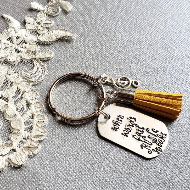 Custom KeyRing Music KeyChain,Piano Teacher Inspirational Keychain HandStamped Keyring Personalized Music Teacher Gift Teacher KeyChain