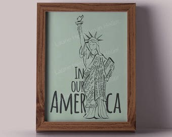 American Values Statue of Liberty 11x14 print // black lives matter // love is love // women's right to choose // refugees welcome