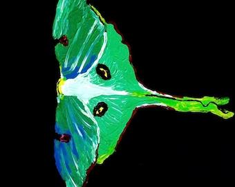 Lunar moth acrylic painting 16x20 canvas paper