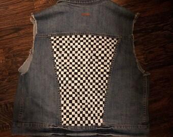 Checkerboard Denim Vest