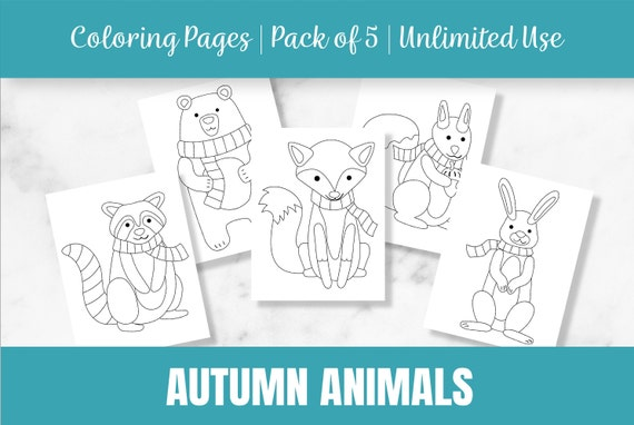 Autumn Animal Coloring Pages  Fall  Fox  Squirrel  Bear