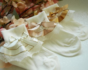 10/% with TWO or more purchase Cute Decorative Baby Girl White Cream//Ivory Frilly Lace Socks Newborn to 10 years old