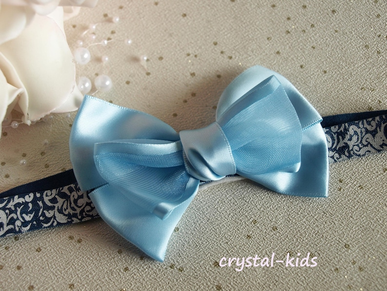 BABY//CHILD//REBORN DOLL SATIN CLIP BOW CROCHET HEADBAND