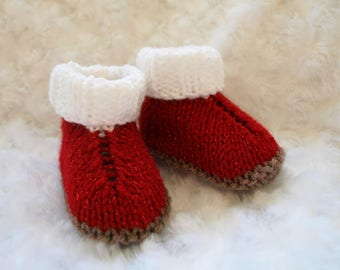 Unique HAND KNIT Baby Red White Glitter Bootees Socks Newborn , 3 months , 6 months,