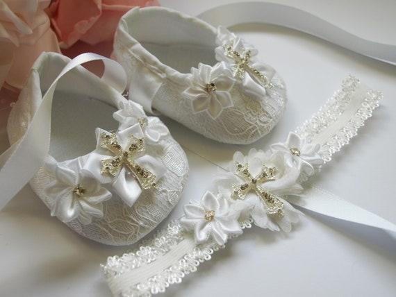 Baby girls christening pram shoes headband set white satin baptism gift cross