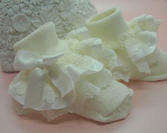 Baby Girls White Cream Silver Cross Frilly Lacy Christening Socks 4 Sizes