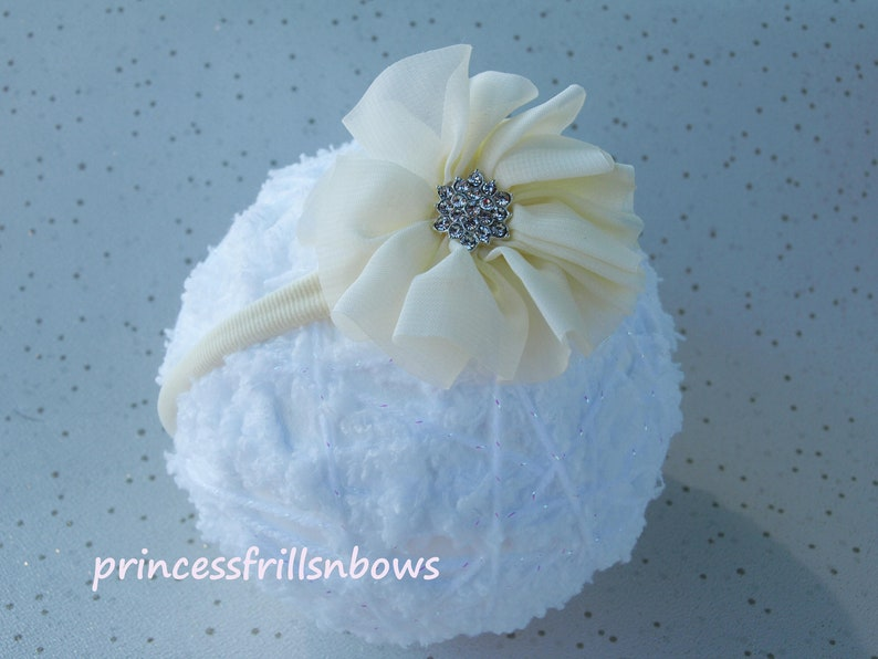 Ivory Satin Hairband Headband  Mint Green Chiffon Flower  Bridesmaid Flower Girl