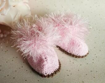 Unique HAND KNIT Baby Fluffy Pink Glitter Bootees Socks Newborn , 3 months , 6 months,