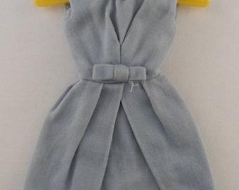 96da2a59bd2b Vintage Barbie Blue Belle Dress; 1962 - 1963; polished cotton sleeveless  dress w/V neck and pleating; simple fashion doll clothing