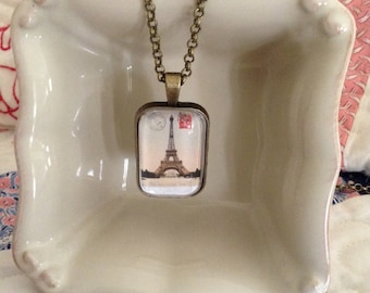 Eiffle Tower vintage postcard pendant necklace